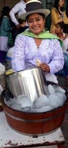 Ice cream saleswoman in traditional costume