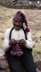 Knitting man on Taquile Island